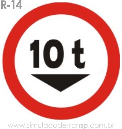 Placa de Regulamentação R-14 Peso bruto total máximo permitido - manual brasileiro de sinalização - Simulado Detran SP 2019