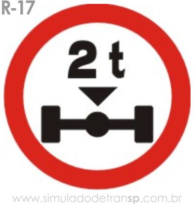 Placa de Regulamentação R-17 Peso máximo permitido por eixo - manual brasileiro de sinalização - Simulado Detran SP 2019