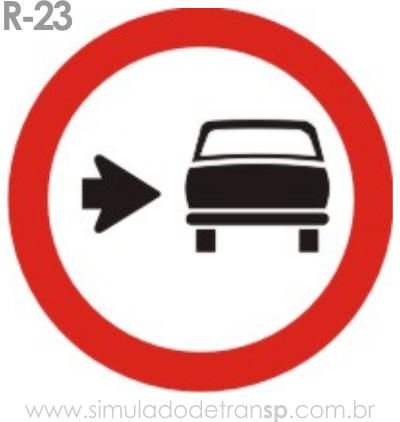 Placa de Regulamentação R-23 Conserve-se à direita - manual brasileiro de sinalização - Simulado Detran SP 2019