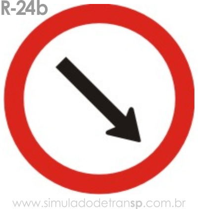 Placa de Regulamentação R-24b Passagem obrigatória - manual brasileiro de sinalização - Simulado Detran SP 2019