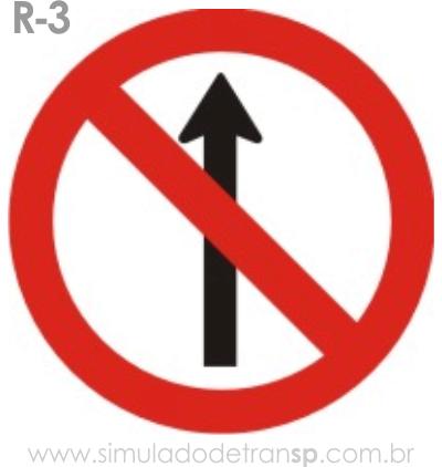 Placa de Regulamentação R-3 Sentido proibido - manual brasileiro de sinalização - Simulado Detran SP 2019