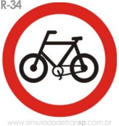Placa de Regulamentação R-34 Circulação exclusiva de bicicletas - manual brasileiro de sinalização - Simulado Detran SP 2019