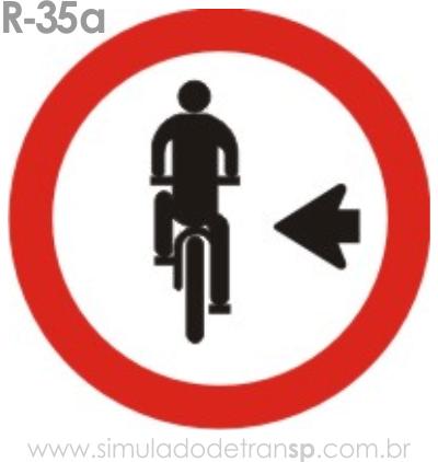 Placa de Regulamentação R-35a Ciclista, transite à esquerda - manual brasileiro de sinalização - Simulado Detran SP 2019