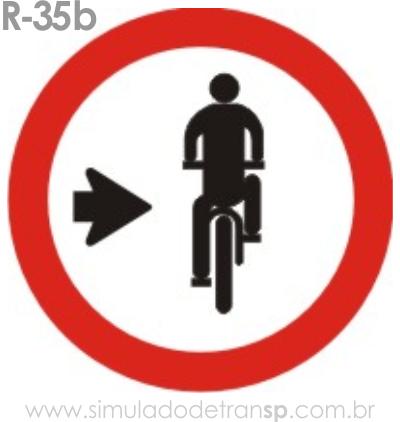 Placa de Regulamentação R-35b Ciclista, transite à direita - manual brasileiro de sinalização - Simulado Detran SP 2019