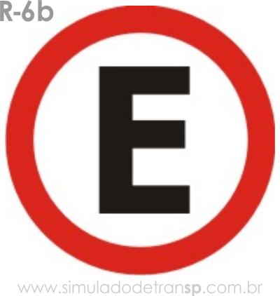 Placa de Regulamentação R-6b Estacionamento regulamentado - manual brasileiro de sinalização - Simulado Detran SP 2019