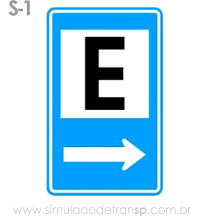 Placa auxiliar de serviço S1 - Área de estacionamento