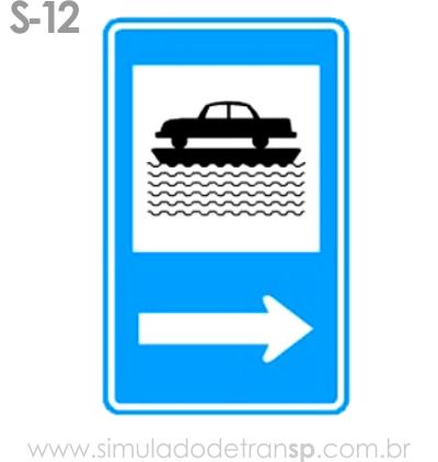 Placa auxiliar de serviço S12 - Transporte sobre água