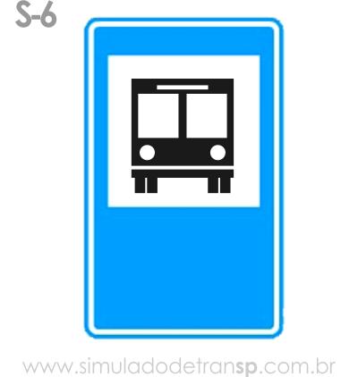 Placa auxiliar de serviço S6 - Terminal rodoviário