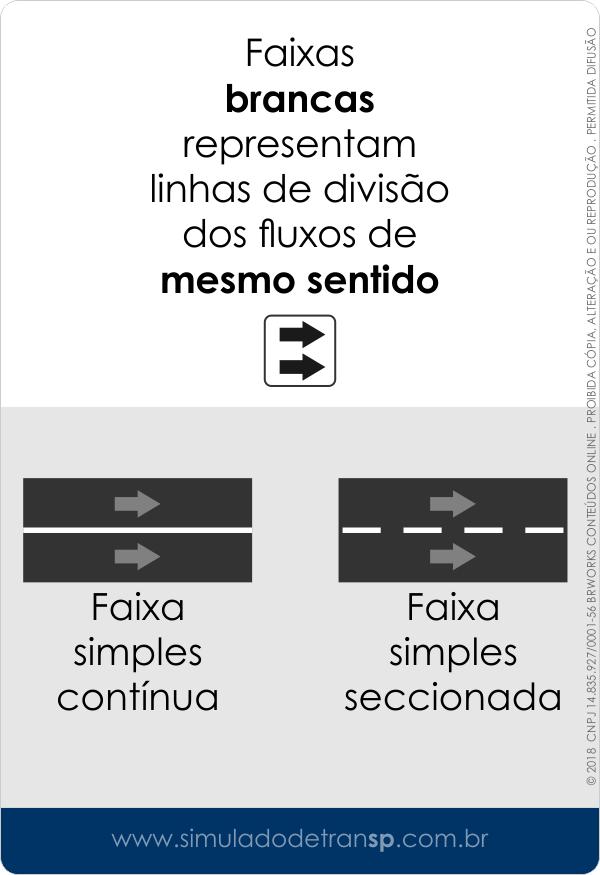 Sinalização horizontal de trânsito - Faixa simples dupla contínua seccionada - branca - Simulado Detran SP - mobile 2019