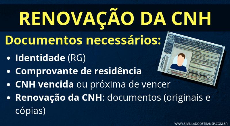 Documentos para a Renovação da CNH